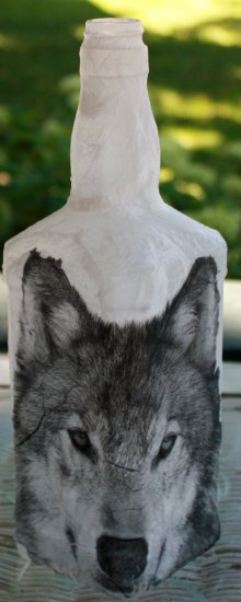 Gray Wolf Head Bottle - Click Image to Close