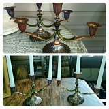 set of two silver candlestick holders