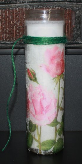 Unscented Container Candle - Pink Roses - Click Image to Close