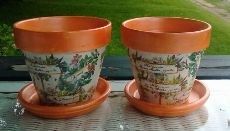 "6"" terra cotta planters, orange with herbal pics - Click Image to Close"