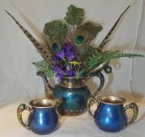 3 piece blue enamel teapot with feathers, ferns and flowers