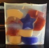 Red, White and Blue Stars in a Clear Soap