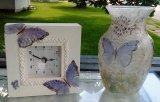 Butterfly Set, Upcycled clock and vase, set of 2