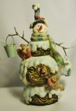 Snowman Figurine with buckets and squirrels