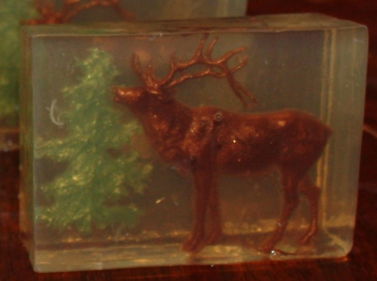 Bull Elk and Pine Tree Clear Glycerin Soap - Click Image to Close