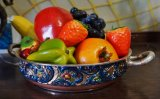 hand painted bowl with fruit