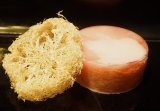 Peppermint Foot Soap, with an embedded loofah sponge