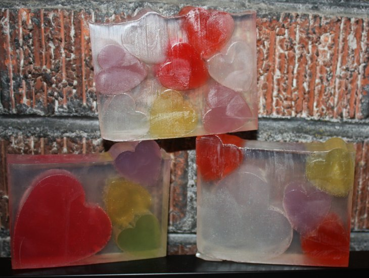 Pastel hearts, Small clear glycerin bath soap - Click Image to Close