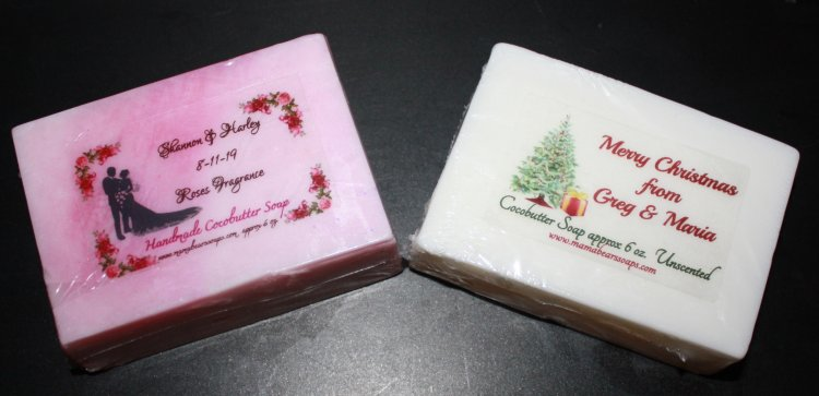 12 Cocobutter soaps with custom labels for weddings, gifts etc - Click Image to Close